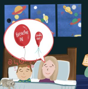 Mother and boy breathing using a balloon as a metaphor
